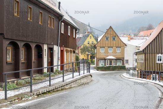 historical Upper Lusatian half-timbered houses in Waltersdorf Zittauer Gebirge