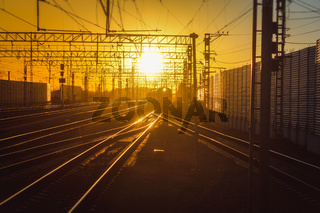 railway at sunset public transport. transportation of people and freight.