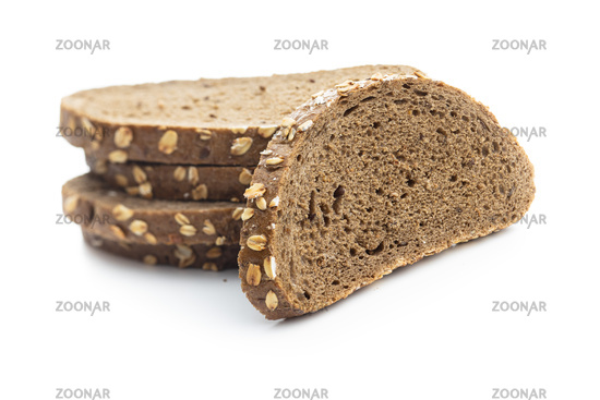 Sliced whole grain bread with oat flakes.