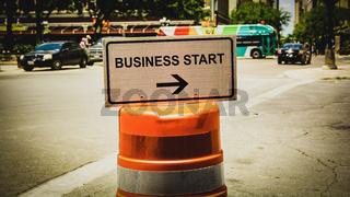 Street Sign BUSINESS START