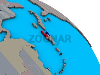 Haiti with flag on 3D globe