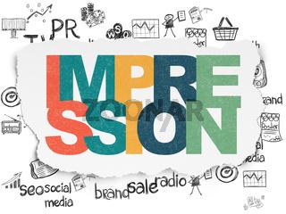 Marketing concept: Impression on Torn Paper background