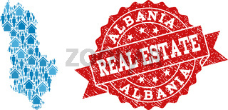 Real Estate Collage of Mosaic Map of Albania and Grunge Stamp