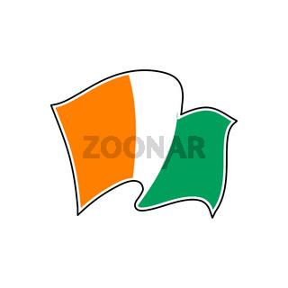 Ivory Coast vector flag. Drapeau de la Côte d'Ivoire.