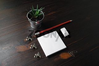 Notes, pencil, eraser, plant