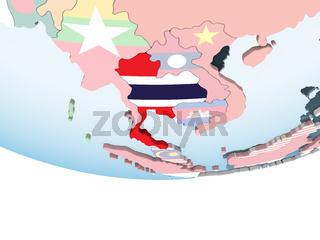 Thailand with flag on globe