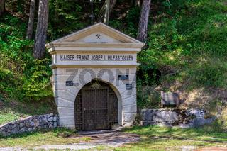 View on Entrance to Mining Tunnel Kaiser Franz Josef Hilfsstollen under Predil Pass in Log pod Mangartom, Bovec, Slovenia, Europe.