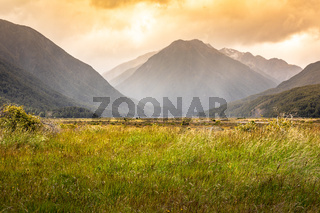 dramatic landscape scenery Arthur's pass in south New Zealand
