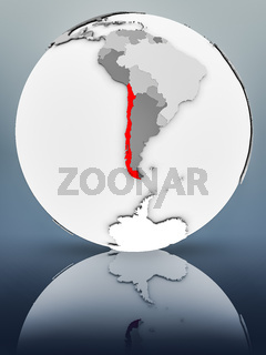 Chile on political globe