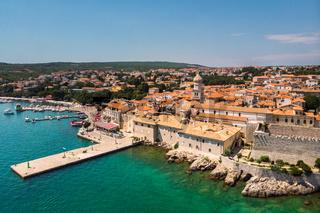 Aerial view of mediterranean coastal old town Krk, Island Krk, Croatia