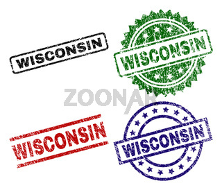 Scratched Textured WISCONSIN Seal Stamps
