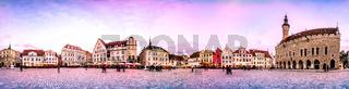 Night Skyline of Tallinn Town Hall Square, Estonia