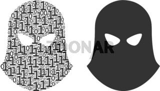 Terrorist Balaklava Composition of Binary Digits