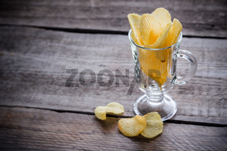 Potato chips in the glass