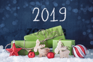 Green Christmas Gifts, Snow, Decoration, 2019, Cement Background