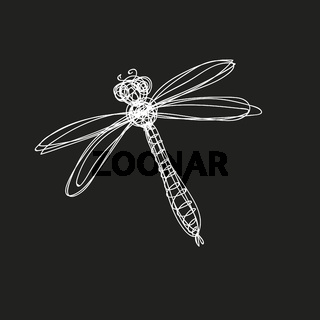 Hand drawn image of dragonfly in continuous line style.