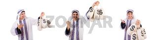 Arab man with money sacks isolated on white