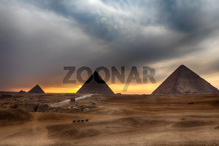 The Great Pyramids at sunset, Giza, Egypt