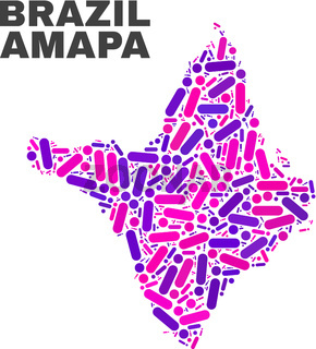 Mosaic Amapa State Map of Dots and Lines