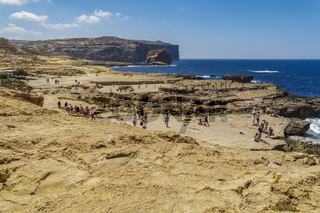 Gozo Island, Malta crowd at the Blue Hole area.
