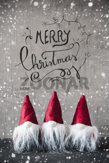 Three Red Gnomes, Cement, Snowflakes, Calligraphy Merry Christmas