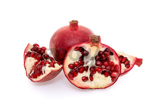 Whole and broken pomegranate