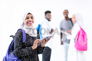 african female student with group of friends