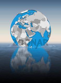 Kuwait on globe in water