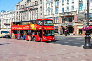 Red bus City Sightseeing parked up at the Nevsky Prospeсt
