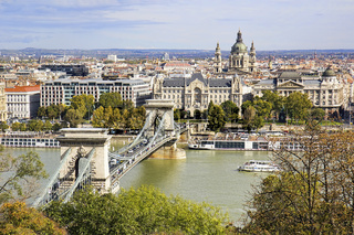 View of St Stephen's Basilica and Chain Bridge in Budapest