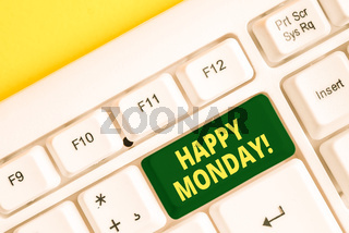 Word writing text Happy Monday. Business concept for telling that demonstrating order to wish him great new week White pc keyboard with empty note paper above white background key copy space.