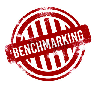 Benchmarking - red grunge button, stamp