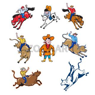 Rodeo Cowboy Cartoon Set