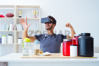 Man with nutrition jars and virtual reality glasses