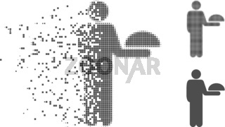 Fragmented Pixel Halftone Standing Waiter Icon