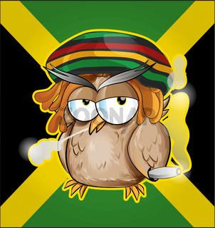 Rastafarian owl cartoon on jamaican flag