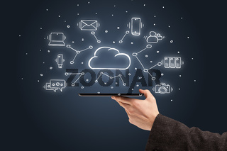 Hand working on phone with cloud technology system concept