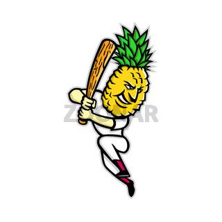 Pineapple Baseball Batting Mascot