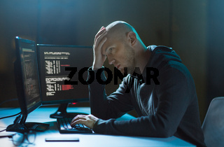 hacker having problem with computer cyber attack