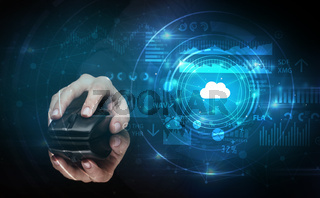 Hand using mouse with cloud technology concept