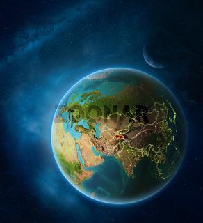 Tajikistan from space on planet Earth