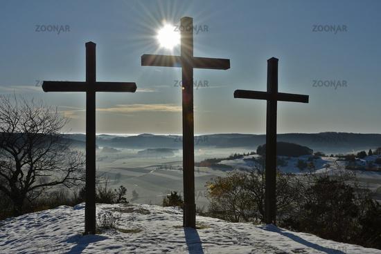 Three Crosses on the Kornbühl, Swabian Alb, Germany