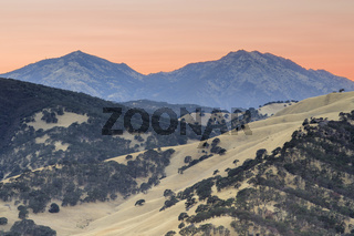 Mount Diablo as seen from the summit of Round Valley Regional Preserve on a summer sunset.