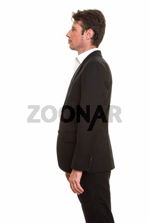 Profile view portrait of handsome Caucasian businessman