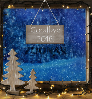 Window, Winter Forest, Text Goodbye 2018, Fairy Lights