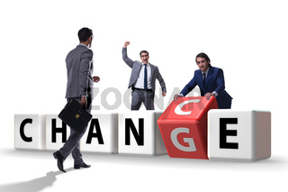 Businessman in change and chance concept