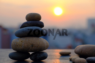 Arrangement art, stack of rocks balance