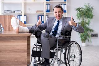Male employee in wheel-chair in the office