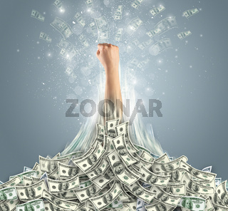 Hand bursting out from a money heap