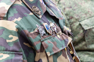 Different awards and badges on the russian uniform